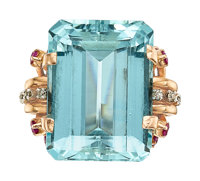 Retro Aquamarine, Diamond, Ruby, Rose Gold Ring