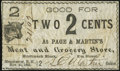 Obsoletes By State:New Hampshire, Manchester, NH- Page & Martin's meat and Grocery Store 2¢ Nov. 25, 1863 Fine-Very Fine.. ...