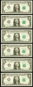 Six Repeater Serial Number $1 Federal Reserve Notes. Choice Crisp Uncirculated. ... (Total: 6 notes)