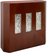 Lalique Cherrywood Veneer Bar Cabinet with Figurines et Raisins Tete Levee Droit, Joueur de Pipeau, Figurines e