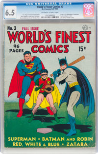 World's Finest Comics #3 (DC, 1941) CGC FN+ 6.5 Off-white to white pages