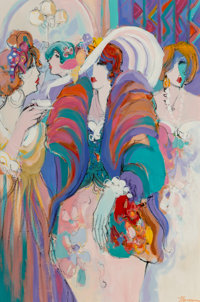 Isaac Maimon (Israeli, b. 1951) At the Soiree Oil on canvas 47-1/2 x 31-1/2 inches (120.7 x 80.0