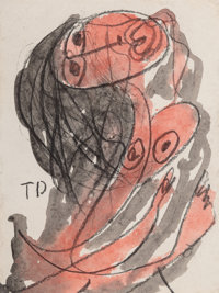 Thorton Dial (American, 1928-2016) Struggling Woman Watercolor and pencil on paper 8 x 6 inches (
