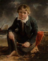 Attributed to William Mulready (British, 1786-1863) The Fisherboy Oil on board 10-3/4 x 8-1/2 inc