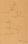 Works on Paper, Rosa Bonheur (French, 1822-1899). Horse Studies, Le Sant, passage dal'obstacle. Pencil on paper laid on board. 10-3/4 x ...