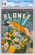 Golden Age (1938-1955):Science Fiction, Planet Comics #18 (Fiction House, 1942) CGC FN/VF 7.0 Cream to off-white pages....