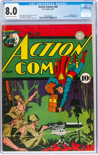 Action Comics #60 (DC, 1943) CGC VF 8.0 Off-white to white pages