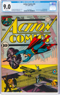 Golden Age (1938-1955):Superhero, Action Comics #55 (DC, 1942) CGC VF/NM 9.0 White pages....