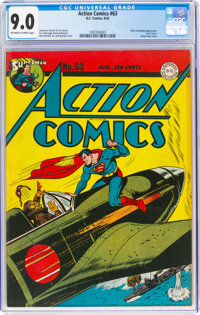 Action Comics #63 (DC, 1943) CGC VF/NM 9.0 Off-white to white pages