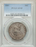 Seated Half Dollars: , 1861 50C XF45 PCGS. PCGS Population: (112/527). NGC Census: (44/399). CDN: $160 Whsle. Bid for problem-free NGC/PCGS XF45. ...