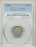 1882 3CN -- Damage -- PCGS Genuine. VF Details. NGC Census: (7/122). PCGS Population: (19/270). CDN: $165 Whsle. Bid for...