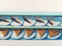 Wayne Thiebaud (b. 1920) Blueberry Custard, 1961 Oil on canvas 18 x 24 inches (45.7 x 61.0 cm) Signed and dated uppe