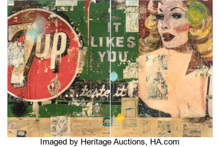 Greg Miller (b. 1951) It Likes You (diptych), 2008 Oil, paper, and resin on panels  72 x 54 inches (182.9 x 137.2 cm)... (Total: 2 Pieces)