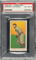 Baseball Cards:Singles (Pre-1930), 1909-11 E90-1 American Caramel Germany Schaefer PSA EX-MT 6 - Pop Two, None Higher. ...