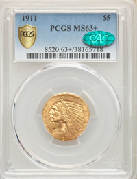 1911 $5 MS63+ PCGS. CAC. PCGS Population: (1077/551 and 22/61+). NGC Census: (882/500 and 14/20+). MS63. Mintage 915,000...