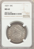 Bust Half Dollars, 1829 50C MS62 NGC. NGC Census: (82/115). PCGS Population: (107/126). MS62. Mintage 3,712,156. ...