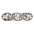Estate Jewelry:Brooches - Pins, Antique Diamond, Cultured Pearl, Silver-Topped Gold Brooch. ...