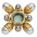 Estate Jewelry:Brooches - Pins, Aquamarine, South Sea Cultured Pearl, Gold Brooch. ...