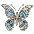Estate Jewelry:Brooches - Pins, Topaz, Diamond, White Gold Brooch, Garavelli. ...