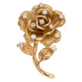 Estate Jewelry:Brooches - Pins, Diamond, Gold Pendant-Brooch. ...