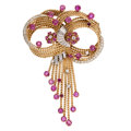 Estate Jewelry:Brooches - Pins, Retro Ruby, Diamond, Gold Brooch. ...