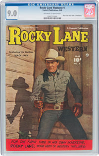 Rocky Lane Western #1 (Fawcett Publications, 1949) CGC VF/NM 9.0 Off-white to white pages
