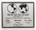Explorers:Space Exploration, Apollo 11: Metal Lunar Plaque Replica in Acrylic Display Directly From The Armstrong Family Collection™, CAG Certified. ...