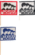 Music Memorabilia:Memorabilia, The Beatles Group of Three American Concert Flags/Pennants Black, Blue and Rare Red (3) (Cleveland, 1966). ... (Total: 3 Items)