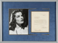 Movie/TV Memorabilia:Autographs and Signed Items, Katharine Hepburn Signed Contract Along With Photo (1933)....