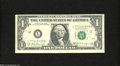Error Notes:Ink Smears, Fr. 1905-L $1 1969D Federal Reserve Note. Very Fine....