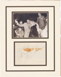 Movie/TV Memorabilia:Autographs and Signed Items, Marilyn Monroe and Joe DiMaggio Original Autographs Matted with Photo. ...