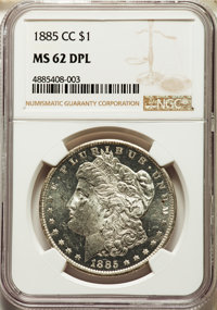 1885-CC $1 MS62 Deep Mirror Prooflike NGC. NGC Census: (74/421). PCGS Population: (201/1186). MS62