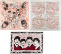 Music Memorabilia:Memorabilia, The Beatles Two Vintage Scarfs, One Irish Linen (3) (1960's).. ...