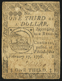 Continental Currency February 17, 1776 $1/3 Very Fine
