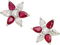 Estate Jewelry:Earrings, Ruby, Diamond, Platinum Earrings. ...
