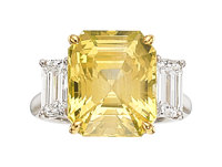 Ceylon Yellow Sapphire, Diamond, Platinum Ring