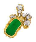 Estate Jewelry:Rings, Jadeite Jade, Diamond, Platinum, Gold Ring, Peter Lindeman. ...