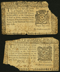 New York August 13, 1776 $3 Very Good; New York August 13, 1776 $10 Very Good. ... (Total: 2 notes)