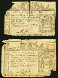 New York February 16, 1771 £5 Two Examples Very Good. ... (Total: 2 notes)