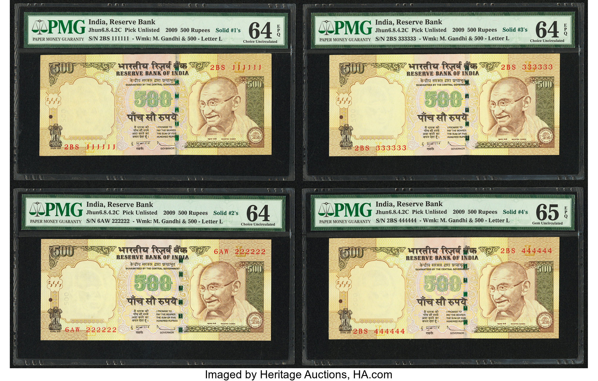 Rs 500// India Banknote LATEST ISSUE Super Solid Number 3-333333 UNC