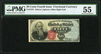 Fr. 1376 50¢ Fourth Issue Stanton PMG About Uncirculated 55