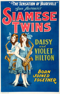 "Hilton Sisters - Siamese Twins (Quigley Publications, 1925). Fine on Linen. Trimmed One Sheet (28"" X 41.75"")..."
