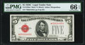 Small Size:Legal Tender Notes, Fr. 1528* $5 1928C Mule Legal Tender Note. PMG Gem Uncirculated 66 EPQ.. ...