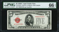 Small Size:Legal Tender Notes, Fr. 1531* $5 1928F Narrow Legal Tender Note. PMG Gem Uncirculated 66 EPQ.. ...