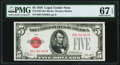 Fr. 1525 $5 1928 Legal Tender Note. PMG Superb Gem Unc 67 EPQ