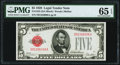 Fr. 1525 $5 1928 Legal Tender Note. D-A Block. PMG Gem Uncirculated 65 EPQ
