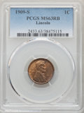 1909-S 1C MS63 Red and Brown PCGS. PCGS Population: (238/1028). NGC Census: (143/451). CDN: $300 Whsle. Bid for problem-...