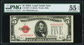Fr. 1526* $5 1928A Legal Tender Note. PMG About Uncirculated 55 EPQ