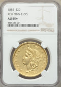 Territorial Gold , 1855 $20 Kellogg & Co. Twenty Dollar AU55+ NGC. NGC Census: (18/27 and 0/0+). PCGS Population: (11/7 and 0/1+). AU55. ...