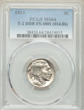Buffalo Nickels, 1913 5C Type Two, Doubled Die Reverse, FS-1801, MS64 PCGS. (014.86). PCGS Population: (9/4). MS64. ...